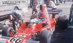 Laguna Seca 1973  Troy Rogers near RR wheel w/ Jim Hall II behind rear wing.