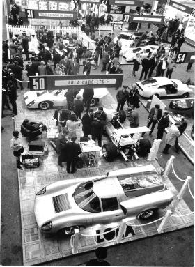 Lola booth at the London racecar show 1969